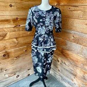 Vintage Eighties Black Floral Print Peplum Dress